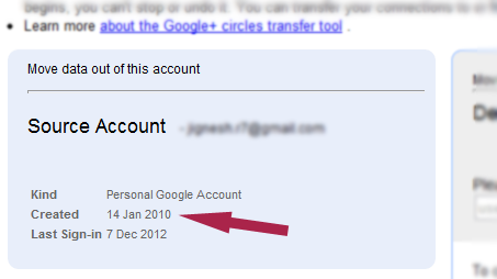 How to know Gmail account creation date