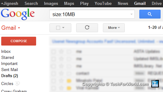 Gmail Size Search