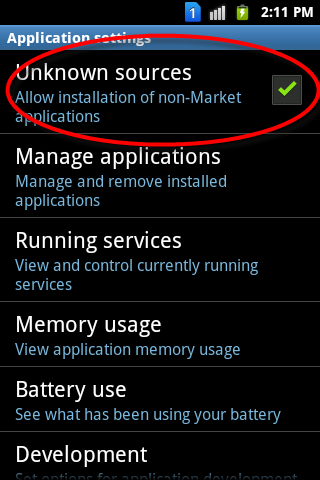 Android Application settings