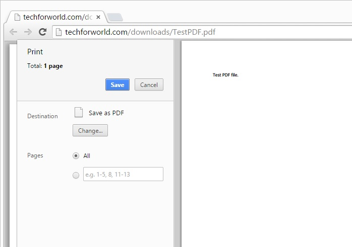 Google Chrome Print File as PDF