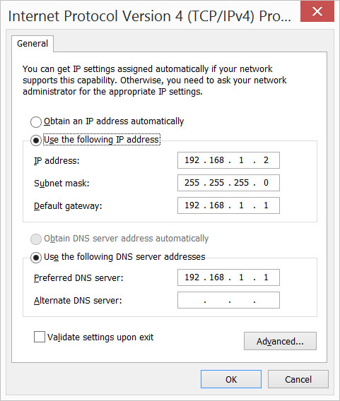 Static IP on Windows PC